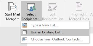 existing list