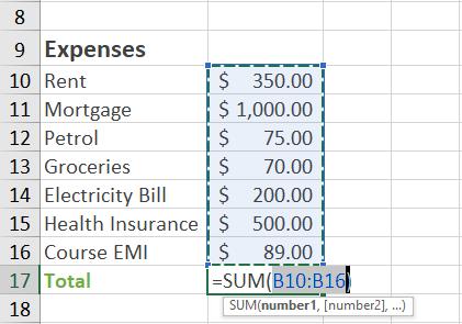 expenses sum