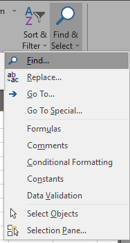 Find and Replace in Excel