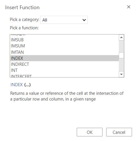 Insert INDEX function