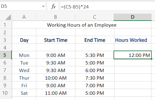 Multiply The Result By 24, for Hour Formatting in Excel
