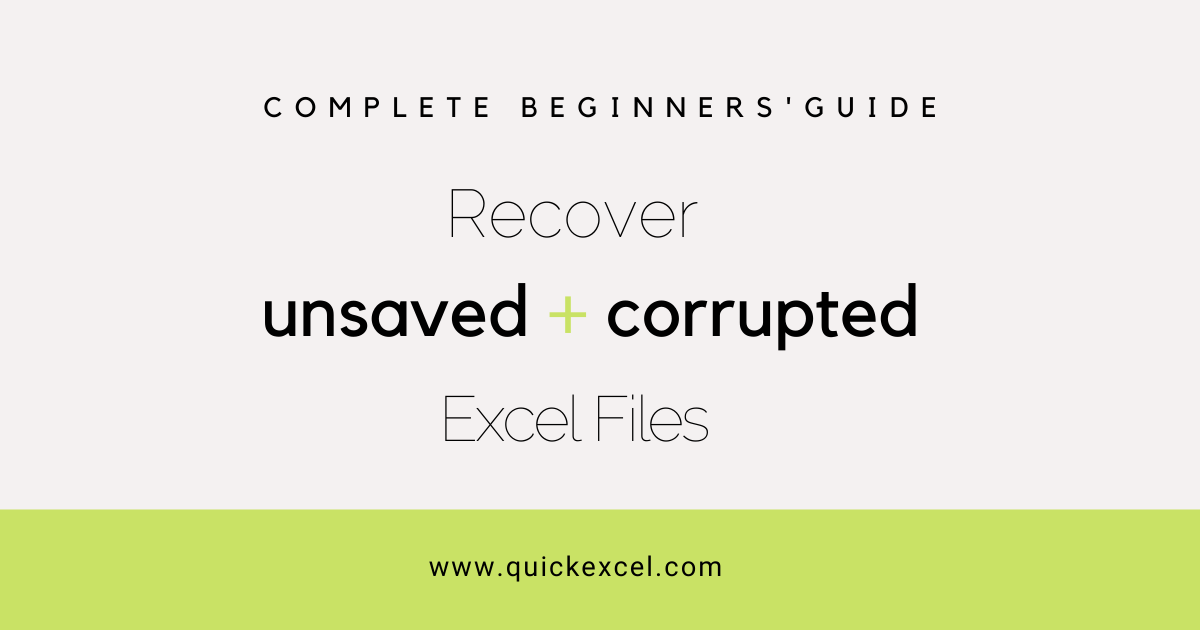recover unsaved and corrupted files in