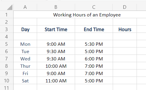 Sample Data to calculate Time Difference in Excel