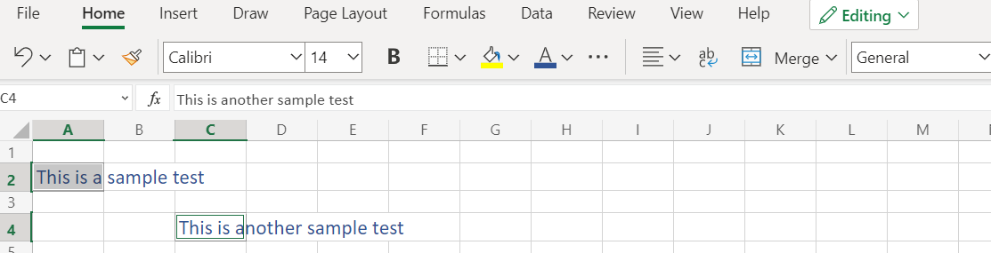 Sample data for Auto Fit in Excel
