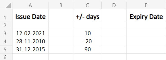 Sample date input to add or subtract in Excel