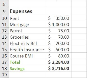 savings calculated