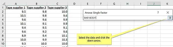 selecting data for anova