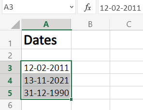 Select Date in Excel