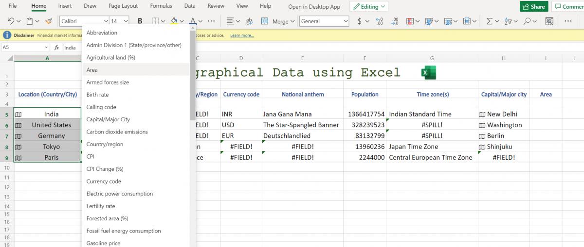 Selecting Geography data parameter