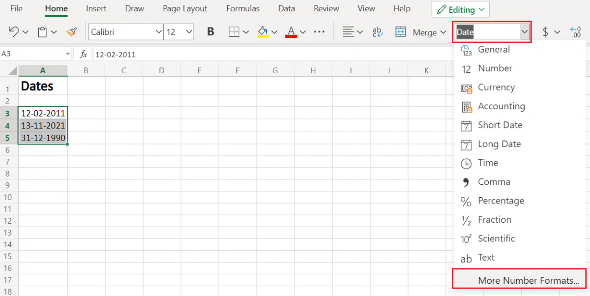 Select Number Format in Excel