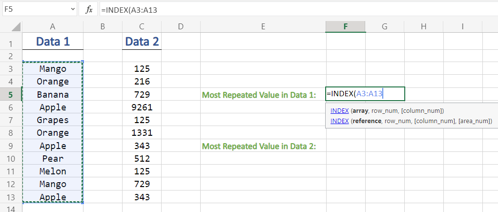 Selecting Values In INDEX Function in Excel