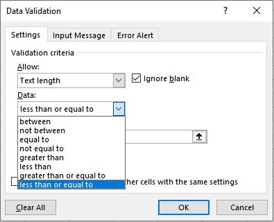 text length less than equal