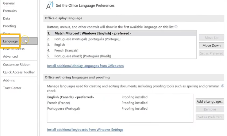 Choose Language from options in Excel