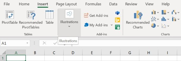 Select Illustrations from Insert in Excel