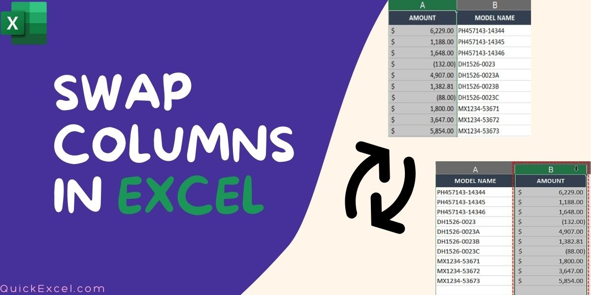 Swap two or more columns in Excel