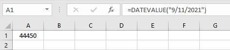 datevalue result