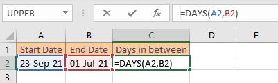 days formula