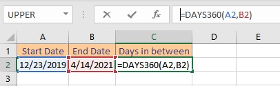 days360 formula