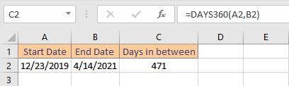 days360 result
