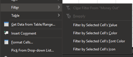 filter rightclick