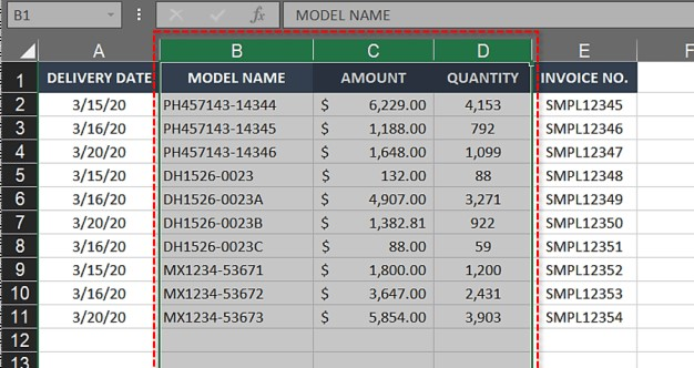 Multiple columns swapped in Excel