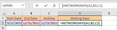networkdays formula