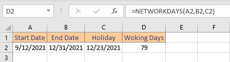 networkdays result