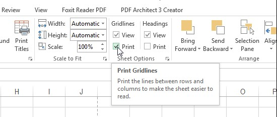 Select Print to print with gridlines in Excel