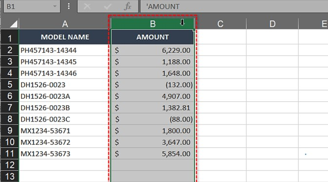 Select the column to swap
