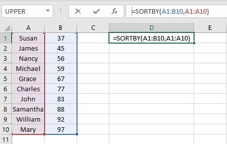 sortby formula