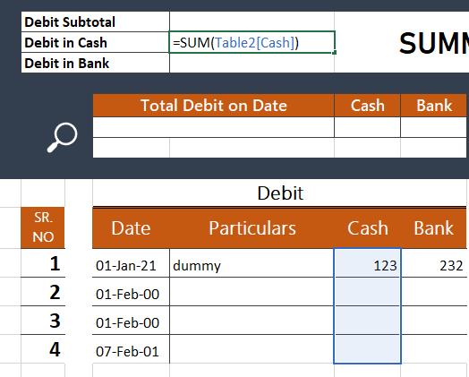 sum cash debit