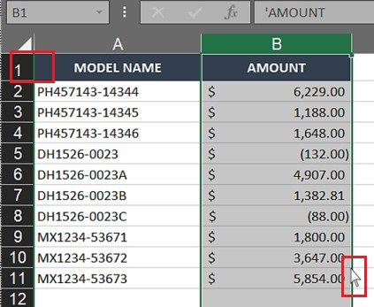 Click and drag the selected column in Excel