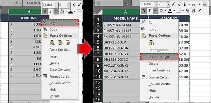 swapping columns in excel by cut and paste