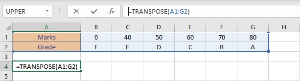 transpose formula