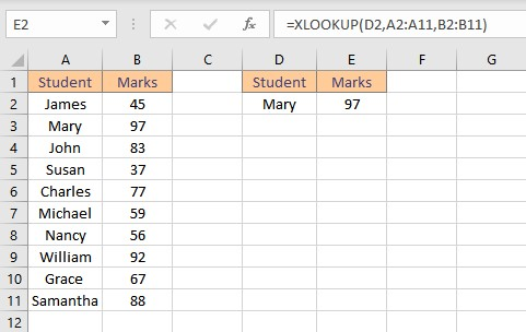 xlookup result