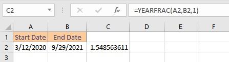 yearfrac result